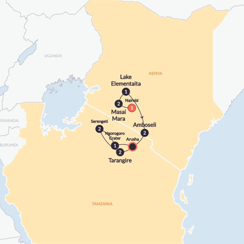 East Africa Safari(Twin Room,Start Nairobi, End Arusha)