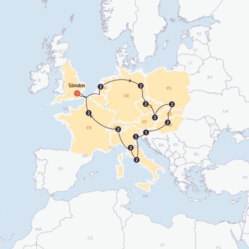 European Trail (Until March 2020)(Quad Room,Start London, End London)
