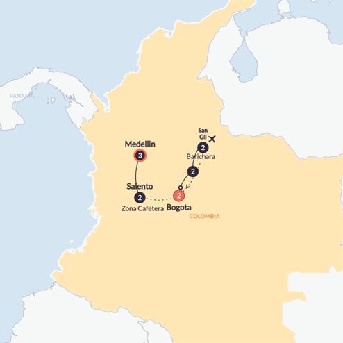 Colombia Quest(Twin Room,Start Bogota, End Medellin)