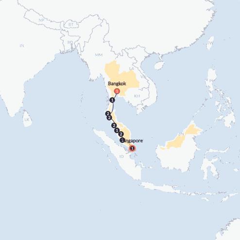 Bangkok to Singapore Adventure (Until Mar 2020)(Twin Room,Start Bangkok, End Singapore)