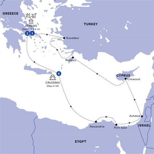 Athens and Three Continents Cruise Standard (Winter 2019 2020)
