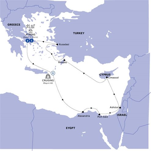 Athens & Three Continents Cruise Standard (Winter 2020 2021)