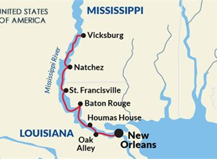 Map Of America Mississippi River.America Mississippi River Cruise Ex New Orleans Return North