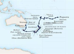 Map Of Australia New Zealand And Tasmania.Maasdam Australia New Zealand South Seas Ex Sydney To Papeete