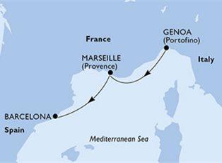 Preziosa, Mediterranean ex Genoa to Barcelona