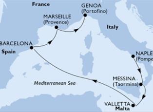 Seashore, Italy Malta Spain France Cruise ex Naples to Genoa