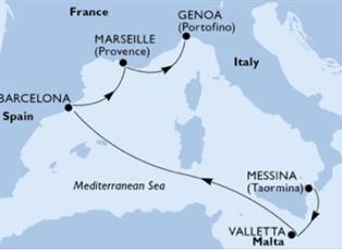 Seashore, Italy Malta Spain France ex Messina to Genoa