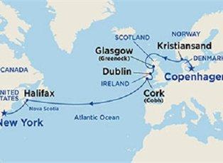 Map Of Ireland To New York.Regal British Isles Norway Passage Ex Copenhagen To New York