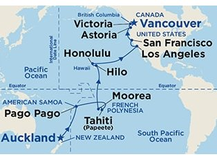 Ruby, Hawaii Tahiti & South Pacific ex Auckland to Vancouver