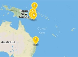 Map Of Australia New Zealand And Papua New Guinea.Pacific Explorer New Guinea Island Encounter Ex Brisbane Return