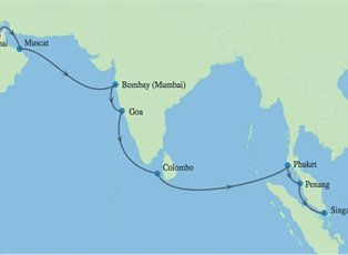 Map Of Asia Dubai.Constellation Best Of India South East Asia Ex Dubai To Singapore