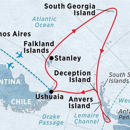 Crossing the Antarctic Circle via Falklands & South Georgia from Buenos Aires