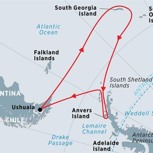 South Georgia and Antarctic Peninsula from Ushuaia